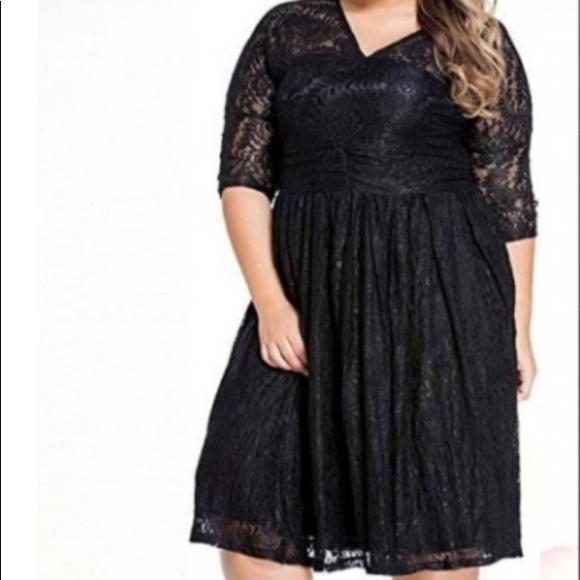 Dresses & Skirts - Women's Plus Black Lace Skater Dress